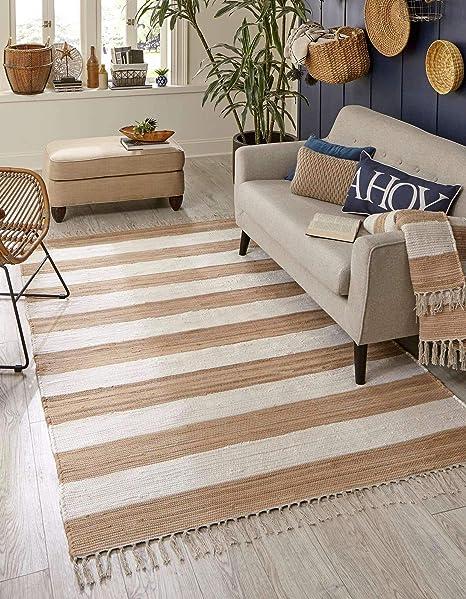 Amazon Com Unique Loom Chindi Rag Collection Hand Woven Striped Natural Fibers Beige Area Rug 9 0 X 12 0 Furniture Decor