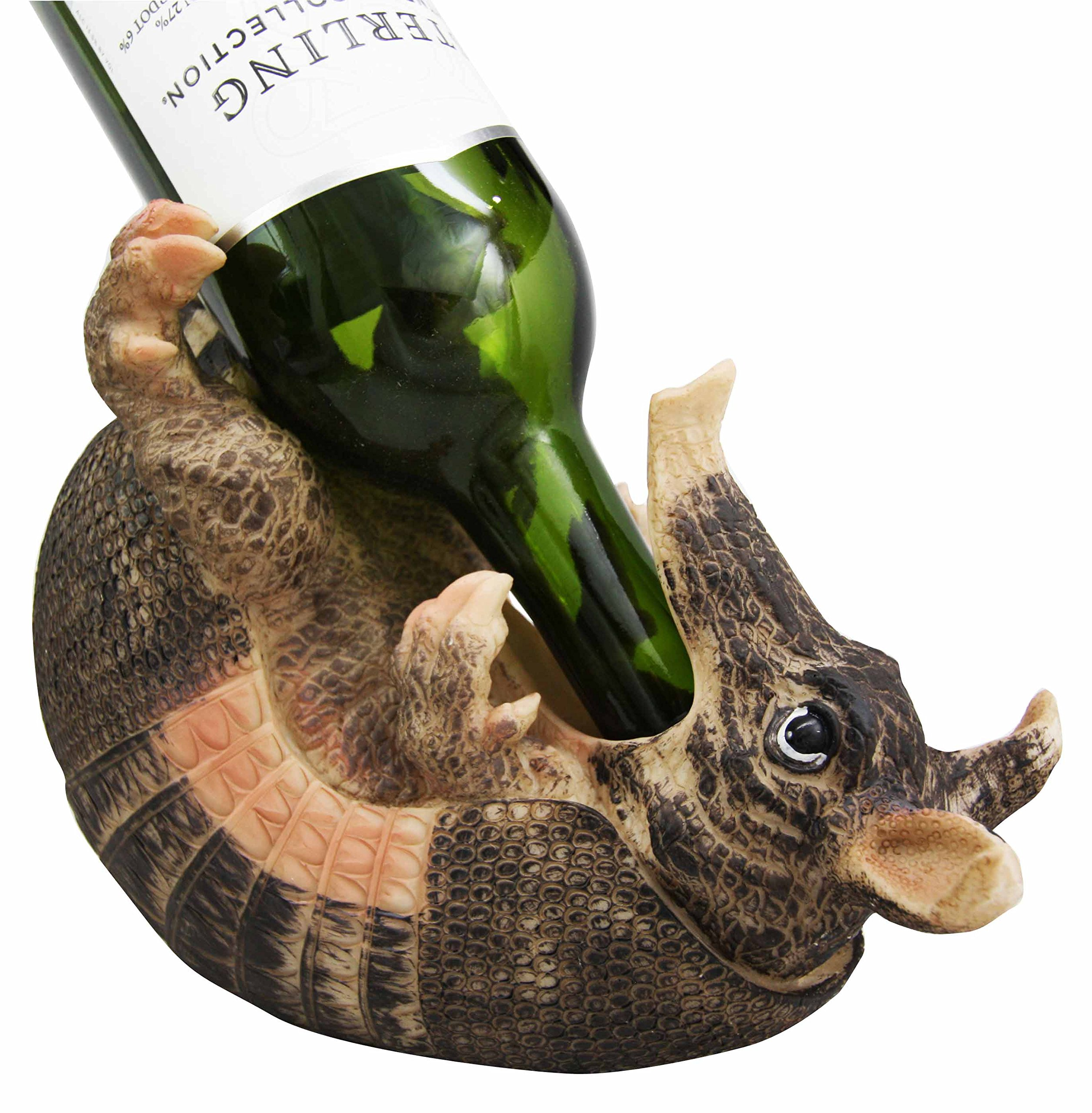 Coiled Wild Armadillo Guzzler 9.5'' Long Wine Bottle Holder Caddy Figurine