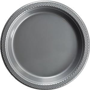 Exquisite 7 Inch. Silver Plastic Dessert/Salad Plates - Solid Color Disposable Plates - 50 Count