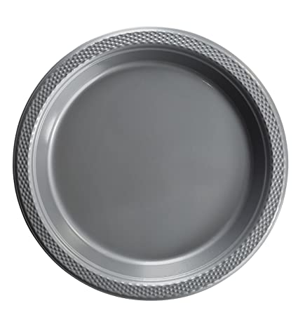 Exquisite 9 Inch. Silver plastic plates - Solid Color Disposable Plates - 100 Count  sc 1 st  Amazon.com : black disposable plates - Pezcame.Com