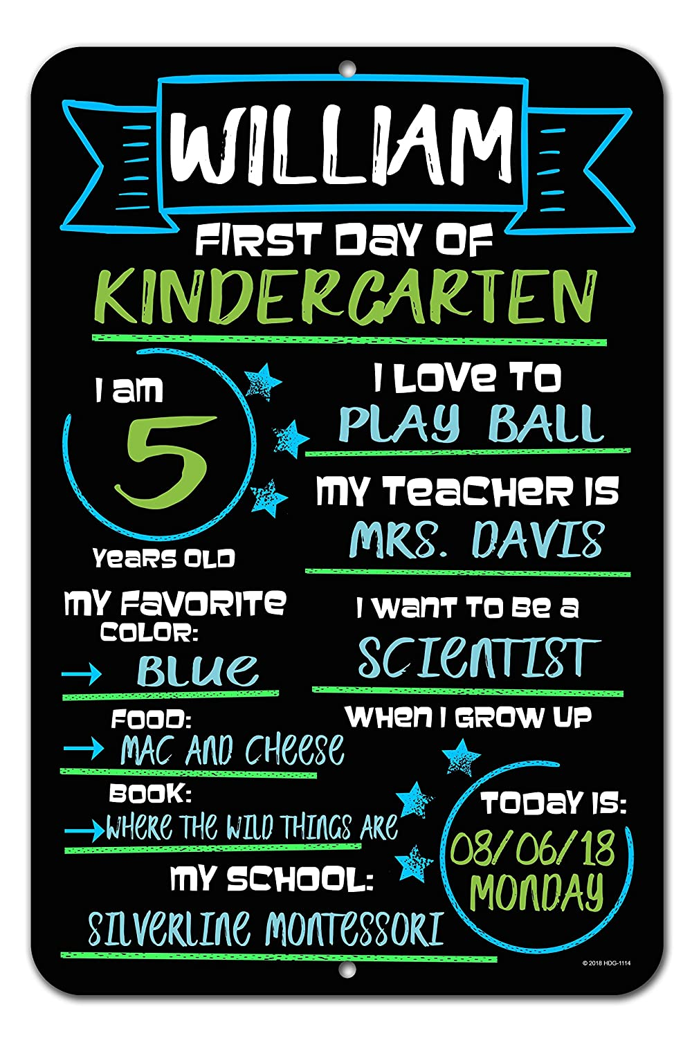Honey Dew Gifts Large First Day of School Blue and Green Chalkboard Style Photo Prop Tin Sign 12 x 18 inch - Reusable Easy Clean Back to School, Customizable with Liquid Chalk Markers (Not Included)