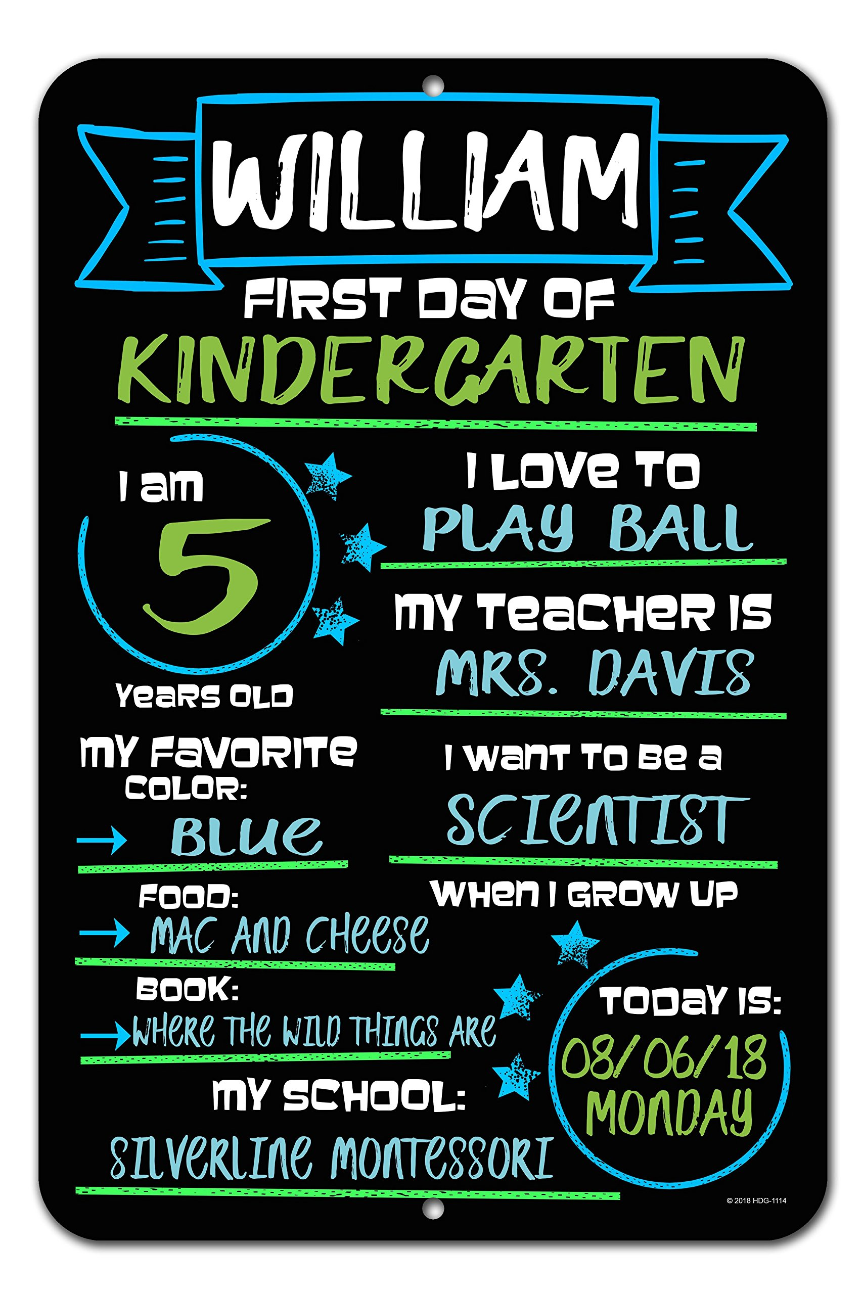 Honey Dew Gifts Large First Day of School Blue and Green Chalkboard Style Photo Prop Tin Sign 12 x 18 inch - Reusable Easy Clean Back to School, Customizable with Liquid Chalk Markers (Not Included) by Honey Dew Gifts