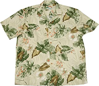 product image for Paradise Found Mens Monstera Orchid Shirt Beige XL