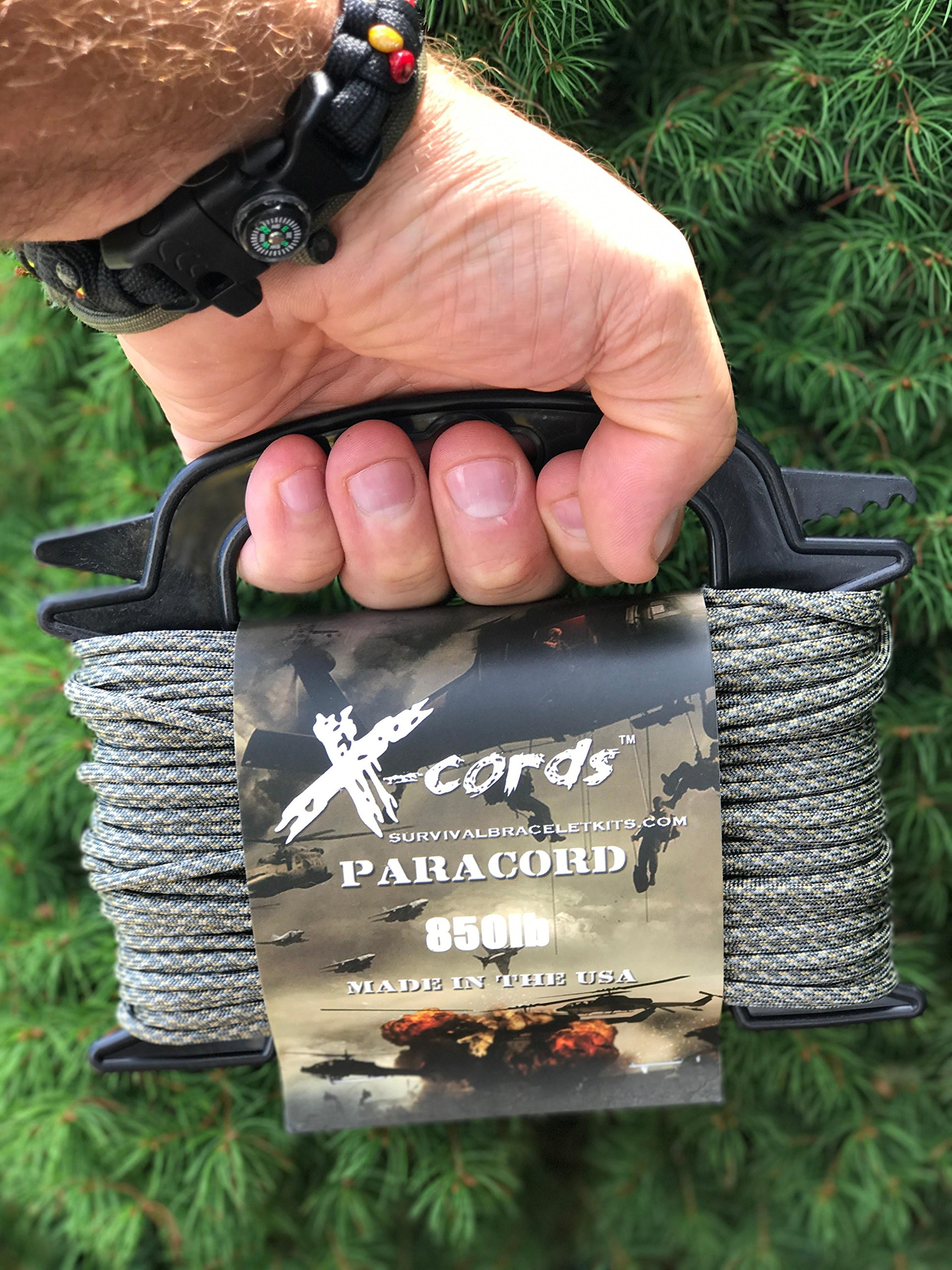 X-CORDS Paracord 850 Lb Stronger Than 550 and 750 Made by Us Government Certified Contractor (100' ACU CAMO ON Spool 850LB) by X-CORDS (Image #2)
