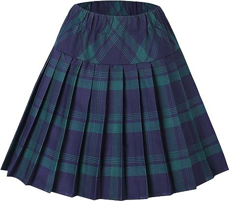 Imagen deUrban GoCo Mujeres Falda Escocesa Plisada con Cintura Elástica Escuela Uniforme Falda Cuadros