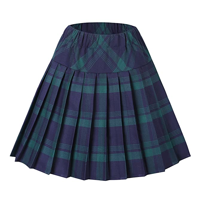 AMORETU Mujeres Falda Escocesa Plisada con Cintura El/ástica Escuela Uniforme Falda Cuadros
