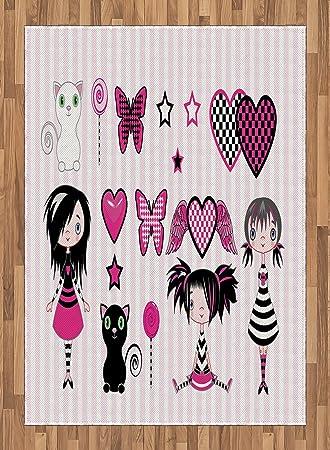 Katze Bereich Teppich Von Lunarable, Young Emo Mode, Schmetterling Lollipop  Kätzchen Herz Mit Engel