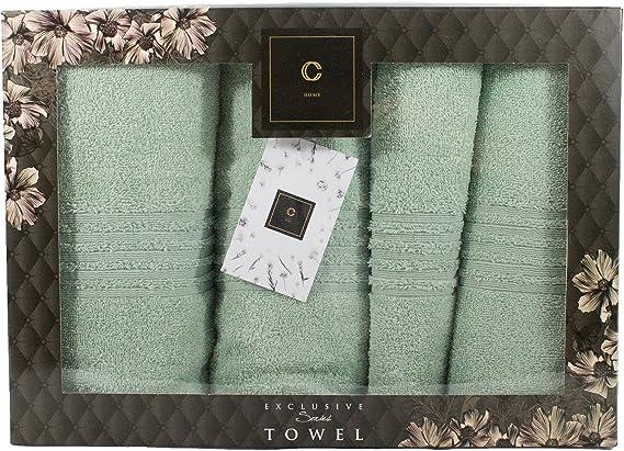 per sauna e bagno 2x 50x100cm Cotone Cavar Home 2x 70x140cm 2 asciugamani spugna Set di 4 asciugamani di alta qualit/à con set regalo Anthrazit 100/% cotone 2 teli doccia