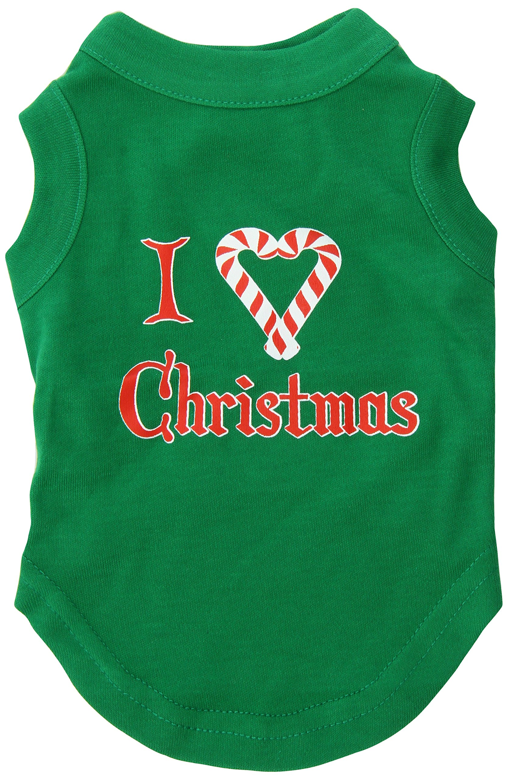 Mirage Pet Products 10-Inch I Heart Christmas Screen Print Shirts for Pets, Small, Emerald Green