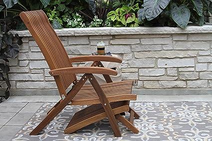 Amazon.com : Outdoor Interiors VC7080 Eucalyptus Venetian 5 Position  Steamer/Lounger With Ottoman : Patio Lounge Chairs : Garden U0026 Outdoor