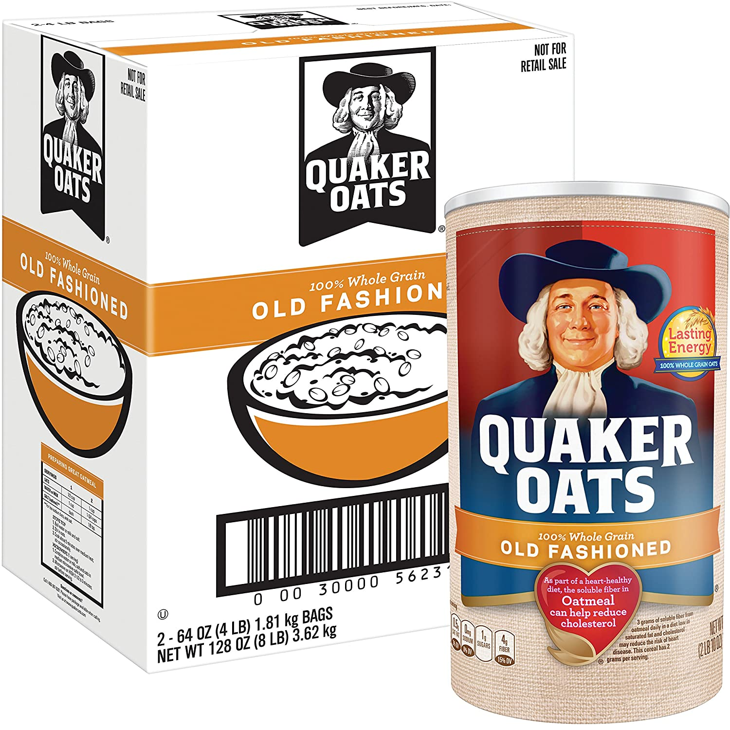 Quaker Oats Old Fashioned Oatmeal, Breakfast Cereal, 128 Ounces