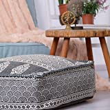 Mandala Life ART Bohemian Pouf Ottoman Cover - Luxury, Artisan Room Decor Pouffe for Meditation, Yoga, and Boho Chic Seating Area Stool Floor Pillow Case – Accent Your Living Room, Bedroom
