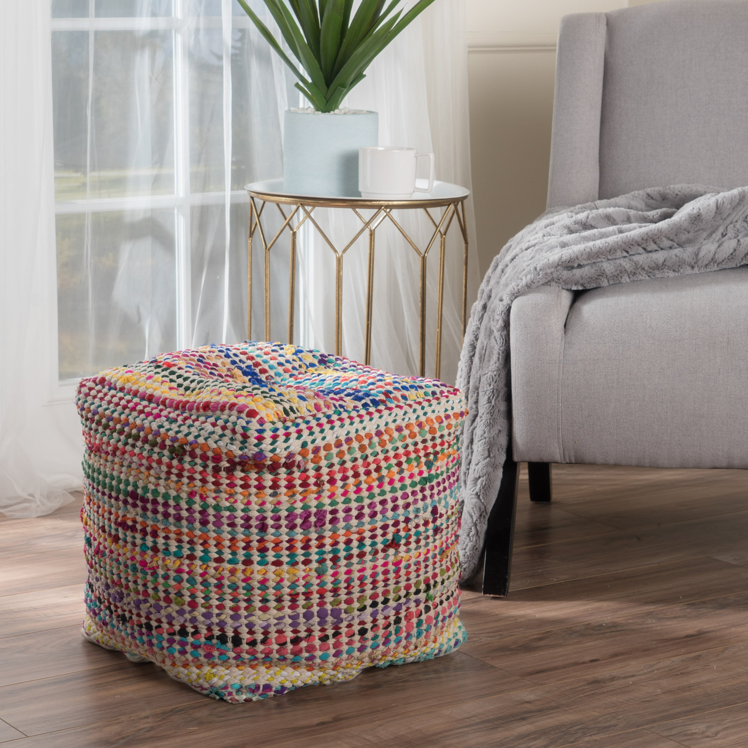 Christopher Knight Home Marcela Hand Woven Fabric Pouf (Ecru) by Christopher Knight Home