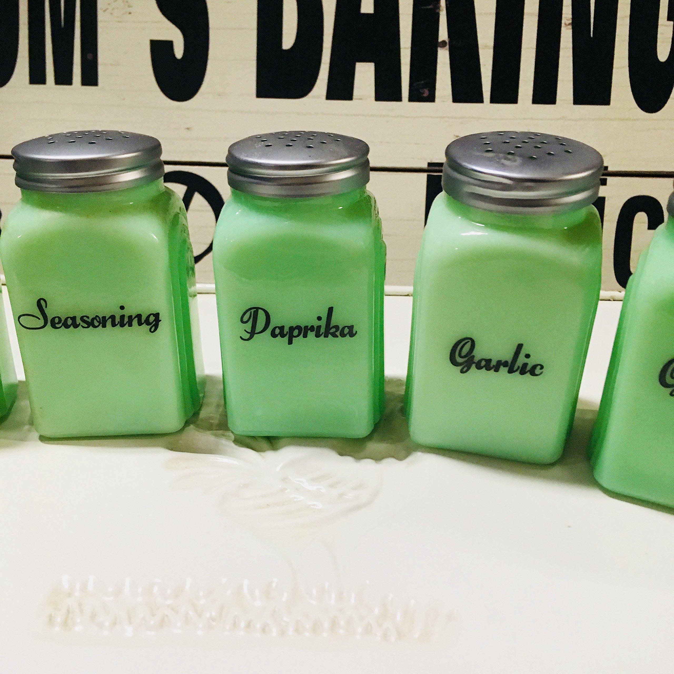 7 Piece GIFT SET - Jade Glass Spice Shakers Set (Spice, Sugar, Seasoning, Paprika, Garlic, Ginger, Cloves) Jadeite Jadite by Sweet Home at Barter Post (Image #4)