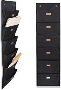 Wallniture Archivo Hanging File Folder Holder - Document Organizer with Label Tabs 6-Sectional Canvas Black (2)