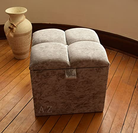 6 Ottoman in Crush Velvet Fabric ideal Storage and Seating Solution !!!!!!