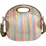 BUILT NY Spicy Relish Neoprene Lunch Bag with Adjustable Crossbody Strap, Candy Dot