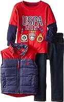 U.S. Polo Assn. Little Boys' Hangdown Puffer Vest and Denim Jean Set