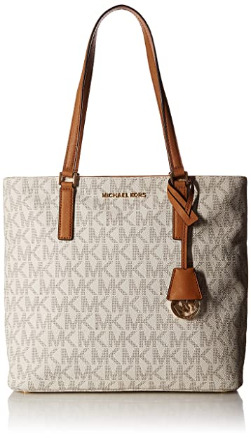 342aa75cb38 Amazon.com: MICHAEL Michael Kors Women's Morgan Medium Tote PVC Logo  Vanilla Handbag: Shoes