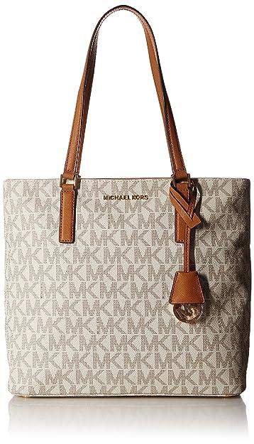 74e31a3f7496 Amazon.com: MICHAEL Michael Kors Women's Morgan Medium Tote PVC Logo Vanilla  Handbag: Shoes