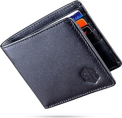 Cuir Véritable Slim Portefeuille pour hommes Trifold Homme Portefeuille avec Fenêtre D/'IDENTIFICATION RFID Bloquant