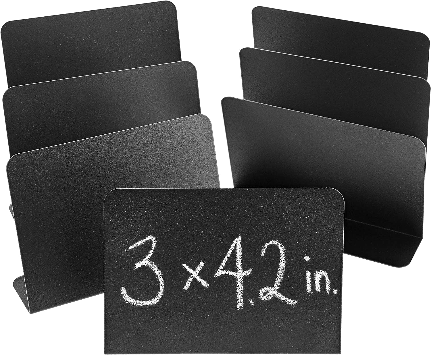 Juvale 8-Pack Mini Metal Chalkboard Stands - Erasable Signs for Tables, Weddings, and Parties, 3 x 4 Inches