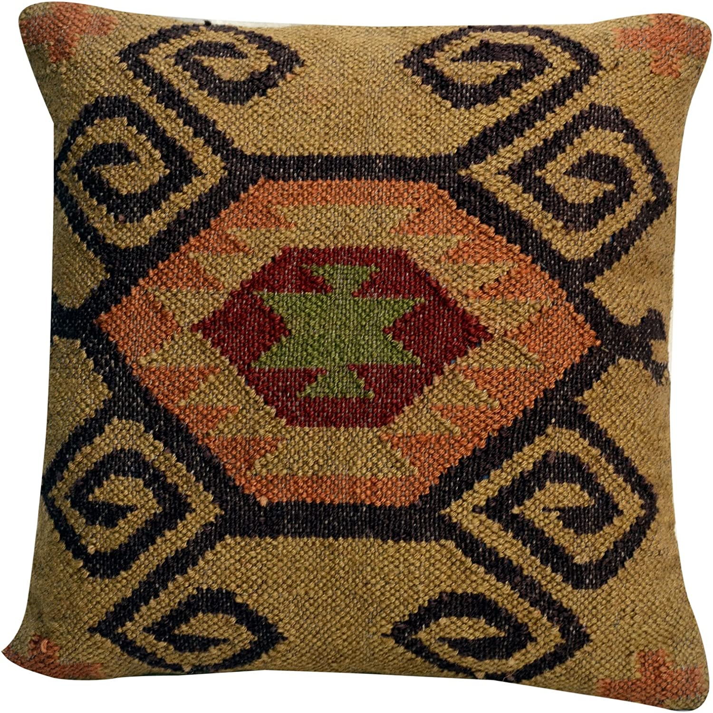 "Indian Jute Square Cushions Cover 18/"" Handmade Kilim Vintage Pillows Throw 1019"