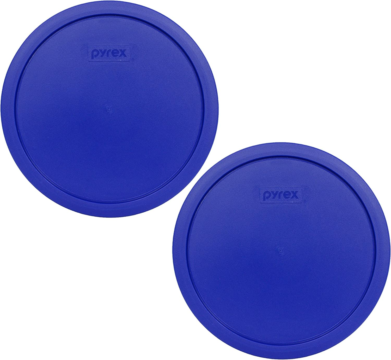 2 Pack Sculptured Mixing Bowl Lid Pyrex 7403-PC Cobalt Blue 10 Cup 2.5qt
