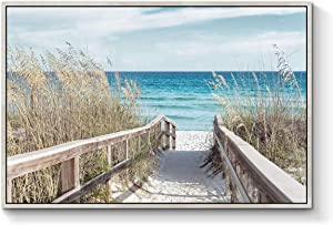 TAR TAR STUDIO Beach Artwork Seascape Wall Art: Seaside Framed Painting Fence Pathway Picture Print on Wrapped Canvas for Living Room (36''W x 24''H, Multiple Sizes)