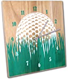 Golf Wall Clock, 12 Inch, Solid Wood, Non-Ticking, Silent, Made In USA, Golfer Gift