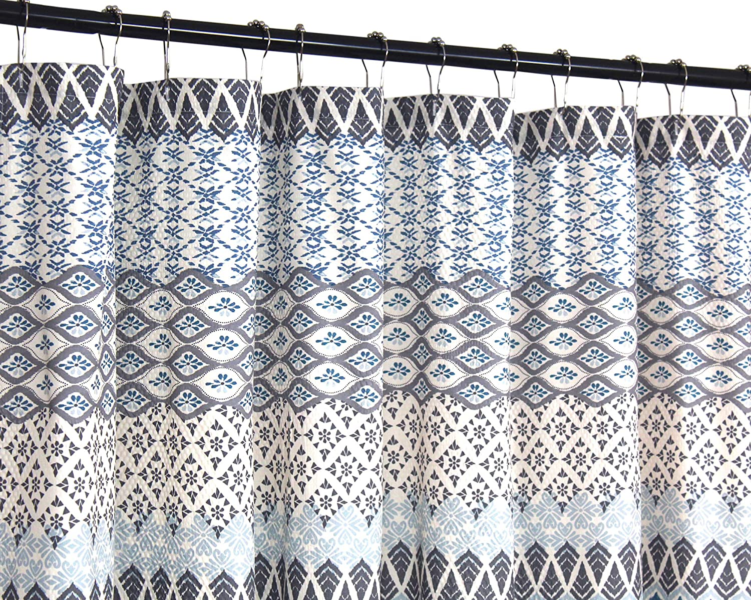VCNY Home Teal Blue Gray Beige Fabric Shower Curtain: Floral Geometric Patterned Design