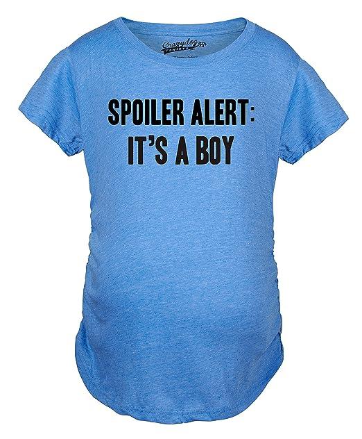 9232c5b283384 Crazy Dog T-Shirts Maternity Spoiler Alert It's a Boy Funny Gender Reveal  Pregnancy Announcement