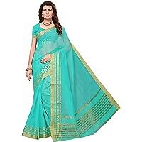 Indira Designer Women's Art Cotton Silk Gold Stripes Saree With Blouse