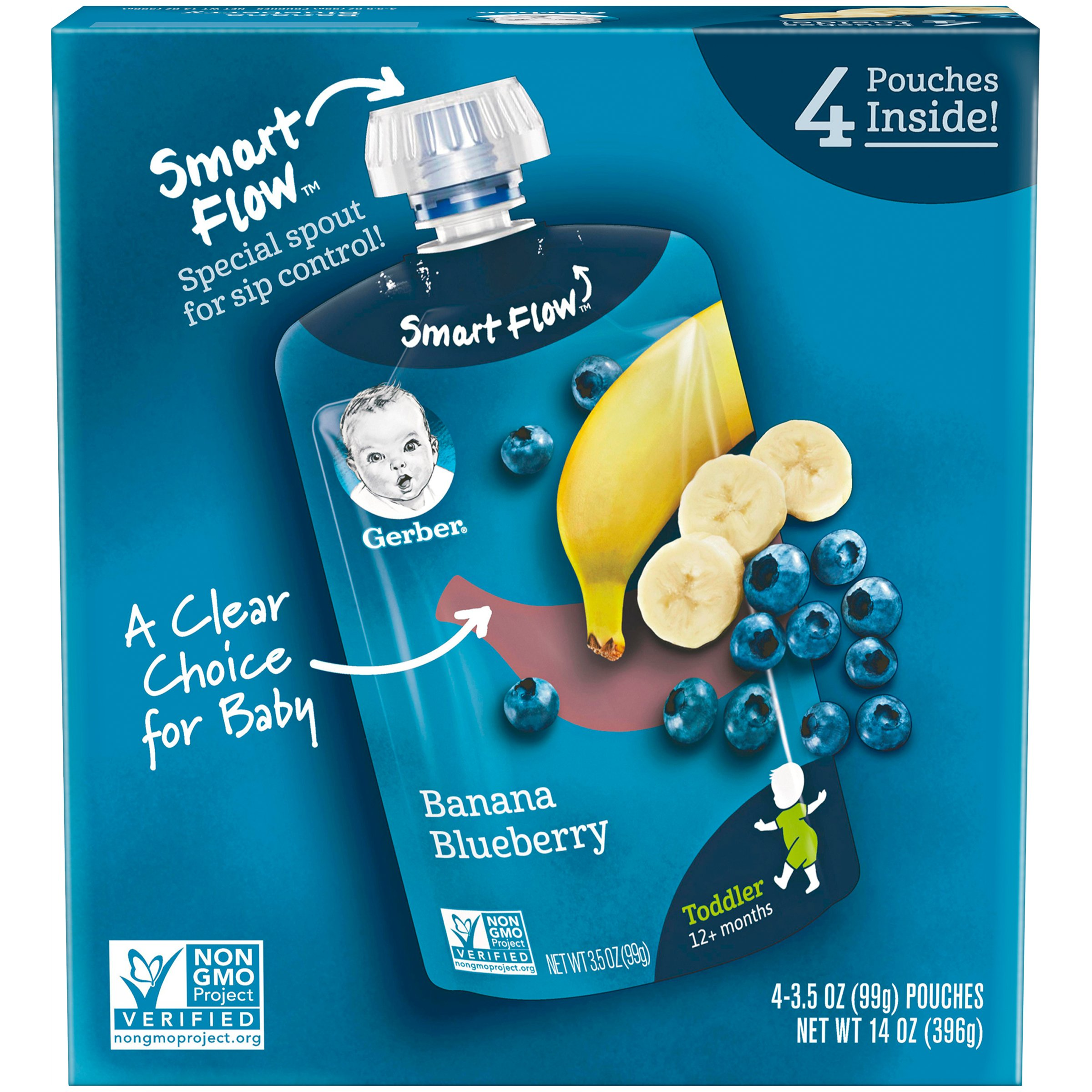Gerber Purees Toddler Pouches Baby Food, Banana Blueberry, 14 Oz, 4 Ct