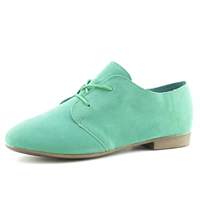 Link Womens Lace Up Faux Suede Flat Oxford Shoes (Adults) | Oxfords
