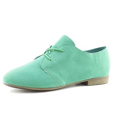 Link Womens Lace Up Faux Suede Flat Oxford Shoes 70d0efd39