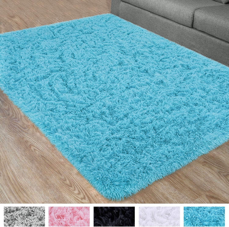 DETUM Soft Bedroom Area Rugs, Fluffy Fur Rug for Living Room Kids Room Nursery Room Mat, Shaggy Plush Carpet for Indoor Floor, Modern Home Decor, 4 x 6 Feet, Blue