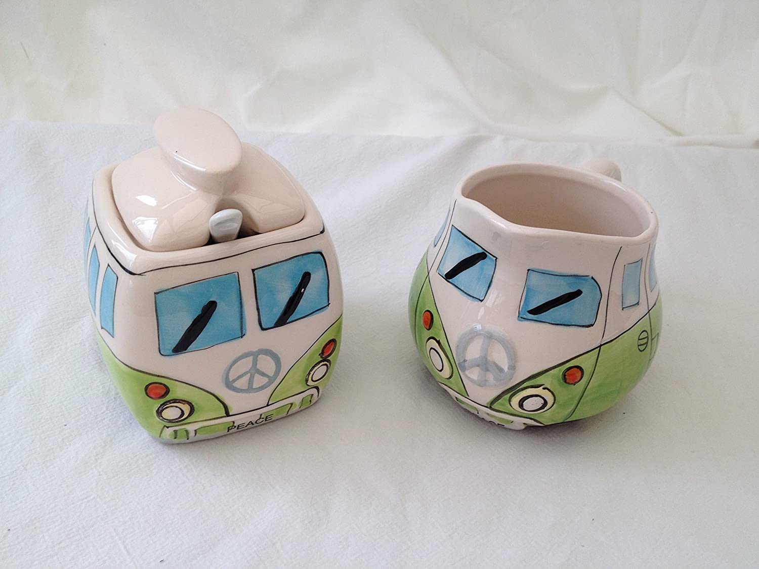 CAMPERVAN MILK JUG AND SUGAR POT GREEN