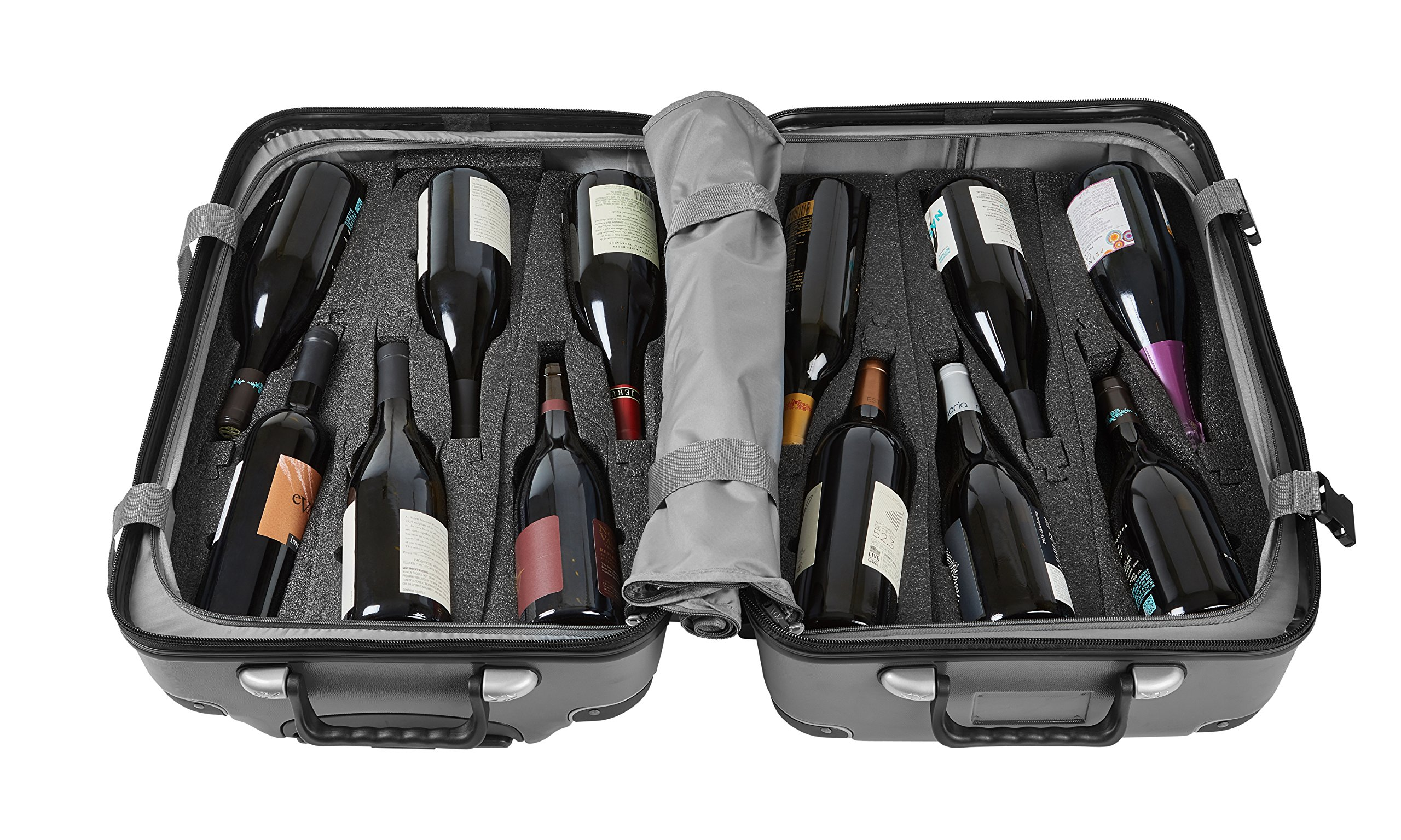 Vin Garde Valise Grande (Standard Size) | Wine Travel Suitcase | All-purpose Luggage | Up to 12 Bottles (Grey, One Size) by Vin Garde Valise
