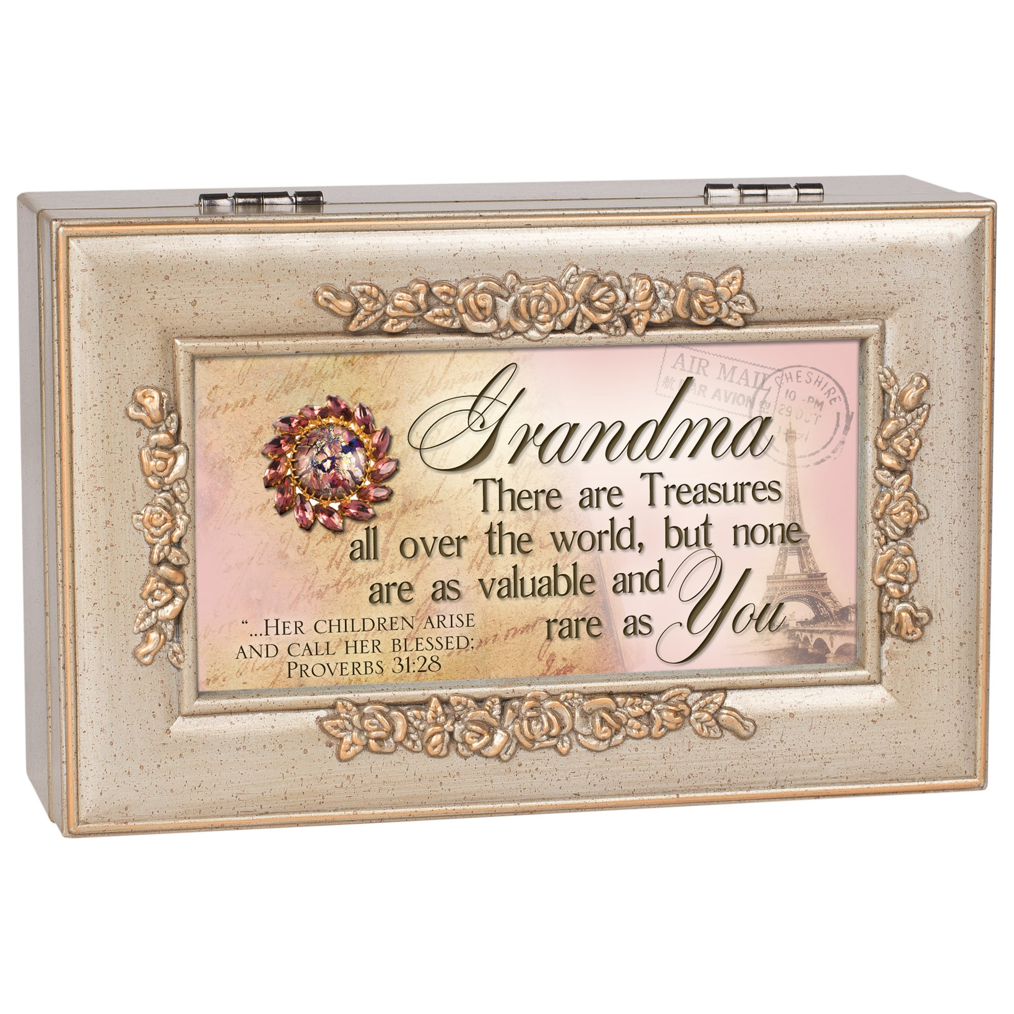 galleon cottage garden grandma grandmother champagne silver petite rose music box jewelry. Black Bedroom Furniture Sets. Home Design Ideas