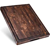 Made in USA, Large End Grain Walnut Wood Cutting Board with Built-in Compartments, Non-slip: 17x13x1.5 with Juice Groove…