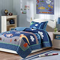 Soul & Lane Dino Delight Bedding Quilt Set - Twin with 1 sham | Dinosaur Pattern Quilted Bedspread