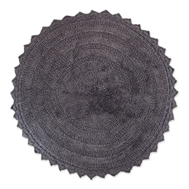 DII Ultra Soft Spa Cotton Crochet Round Bath Mat or Rug Place in Front of Shower, Vanity, Bath Tub, Sink, and Toilet, 28  - Gray