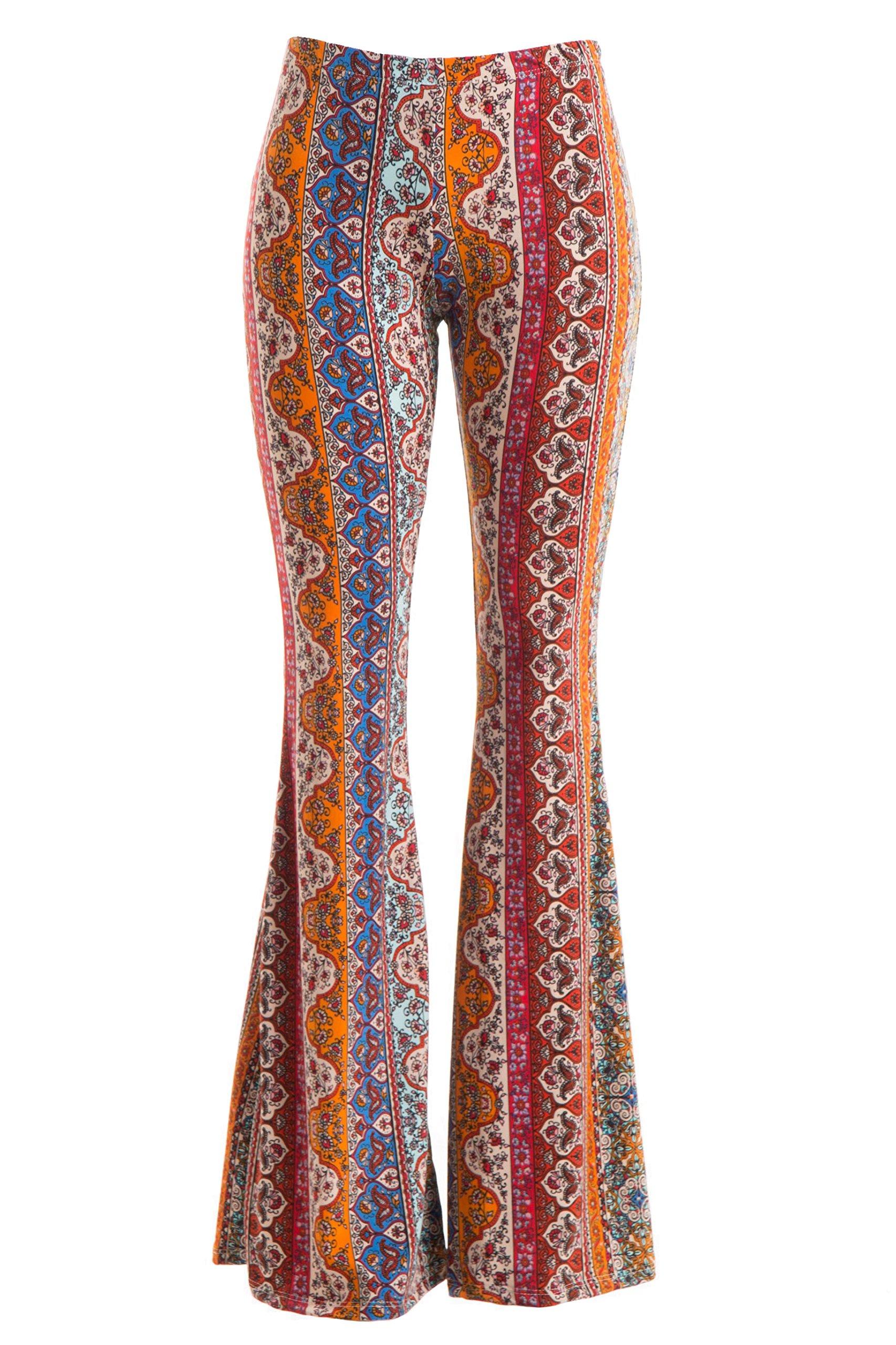 Fashionomics Womens Boho Comfy Stretchy Bell Bottom Flare Pants (S, BH2RUST)
