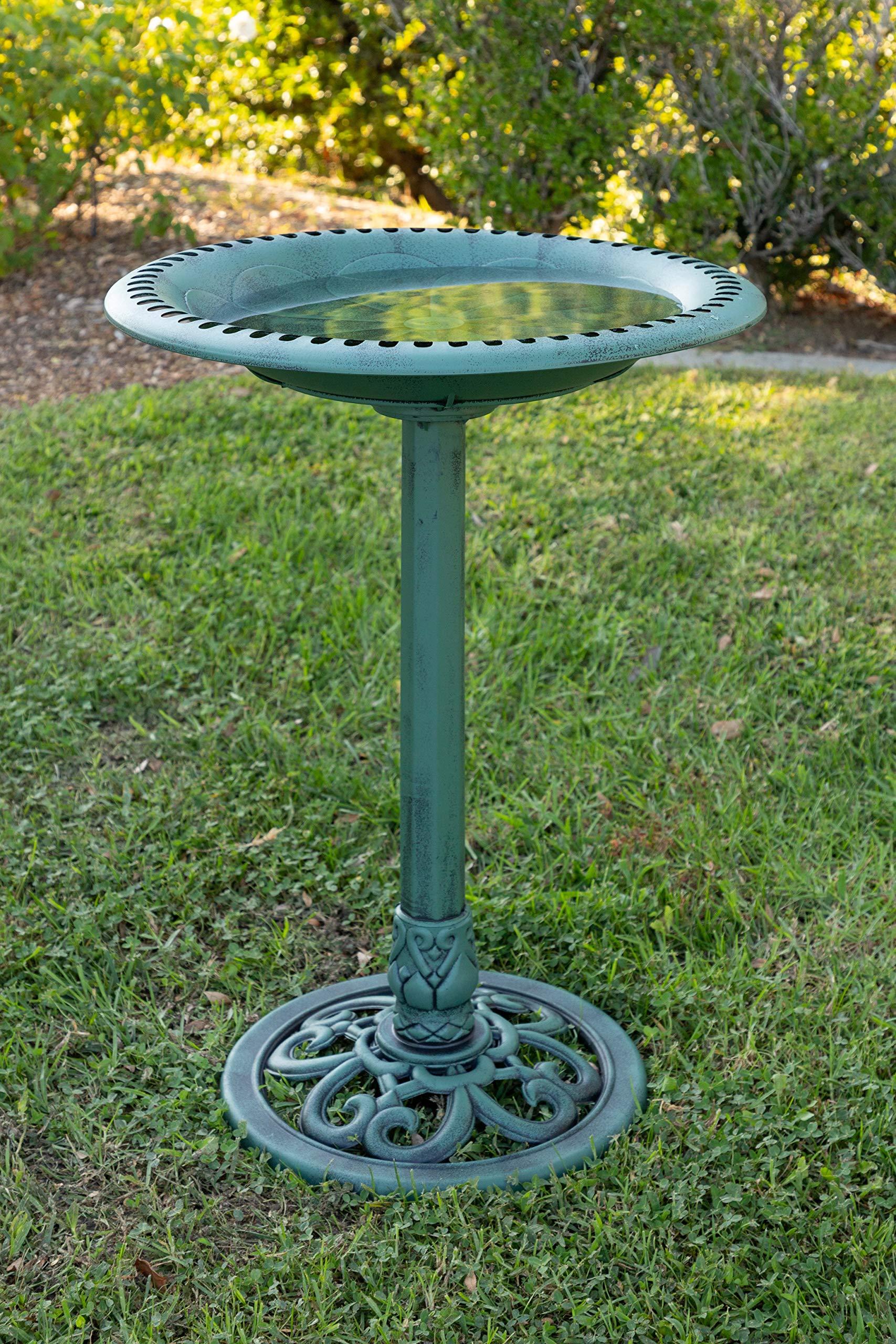 Alpine Corporation Plastic Birdbath with Scrollwork - Outdoor Decor for Garden, Patio, Deck, Porch - Green