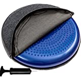 bintiva Inflated Stability Wobble Cushion, With removable washable overlay, Including Free Pump/Exercise Fitness Core Balance Disc
