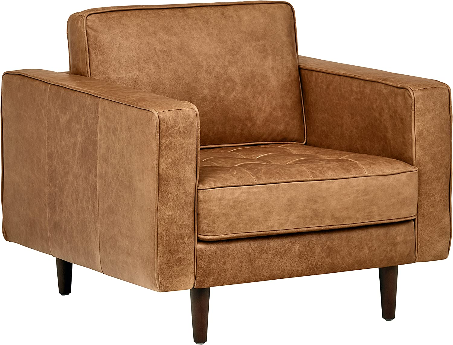 "Rivet Aiden Tufted Mid-Century Modern Leather Accent Chair, 35.4""W, Cognac"