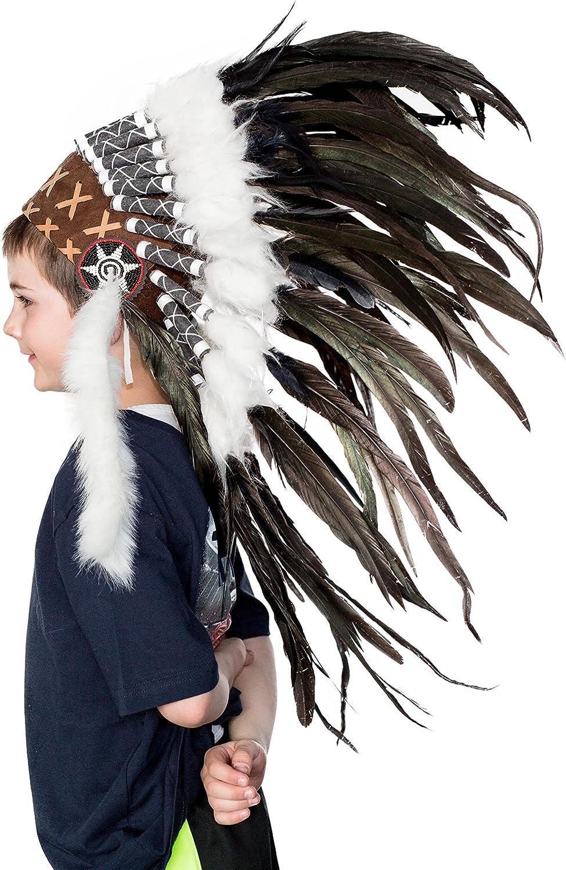black and green teal feather headdress short length Kids Indian headdress