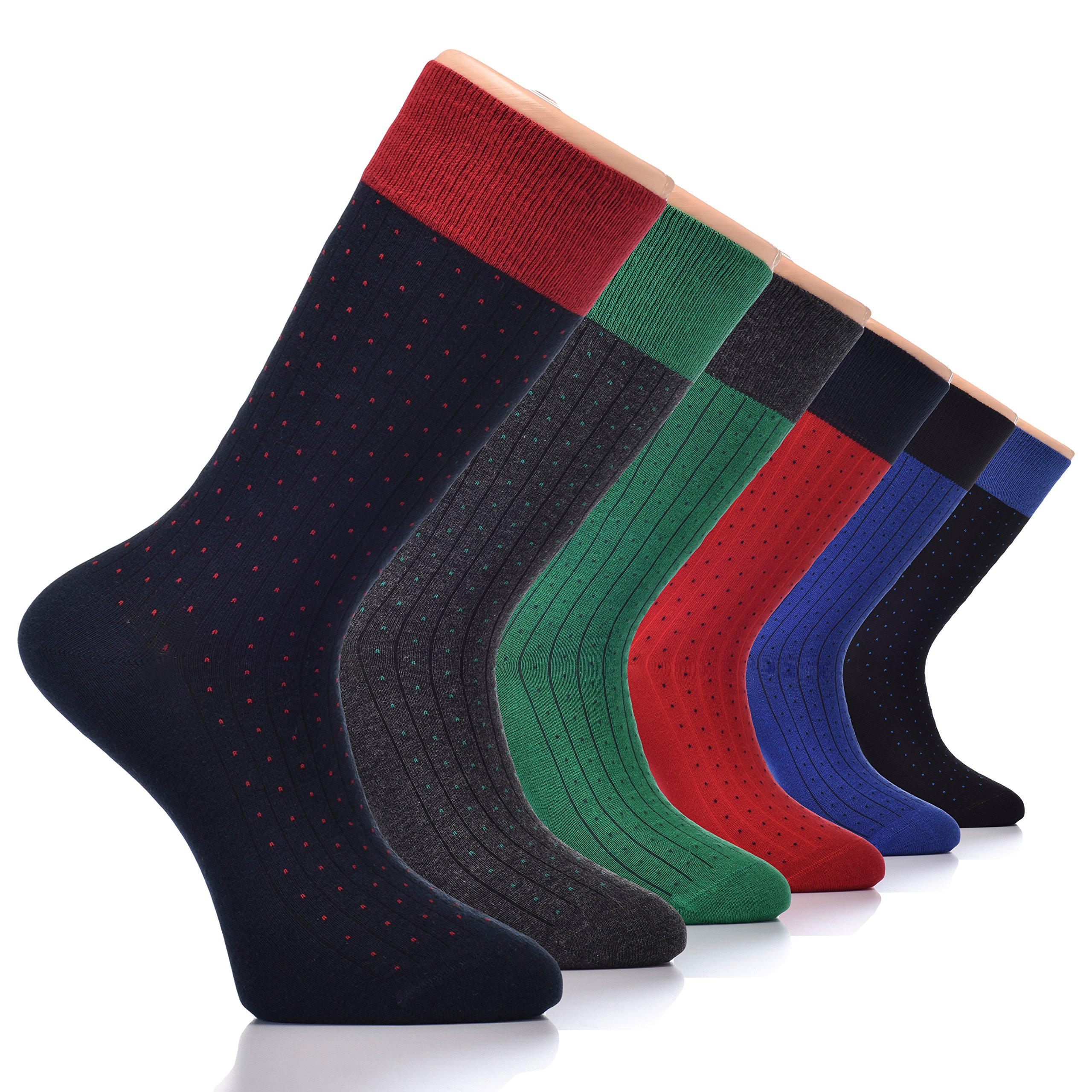 Men's Cotton Crew Socks (6-pack) |Luxury Casual, Business, Funny Colorful Patterned, Cool Dress Socks Footwear Size 7-12 (Highway)