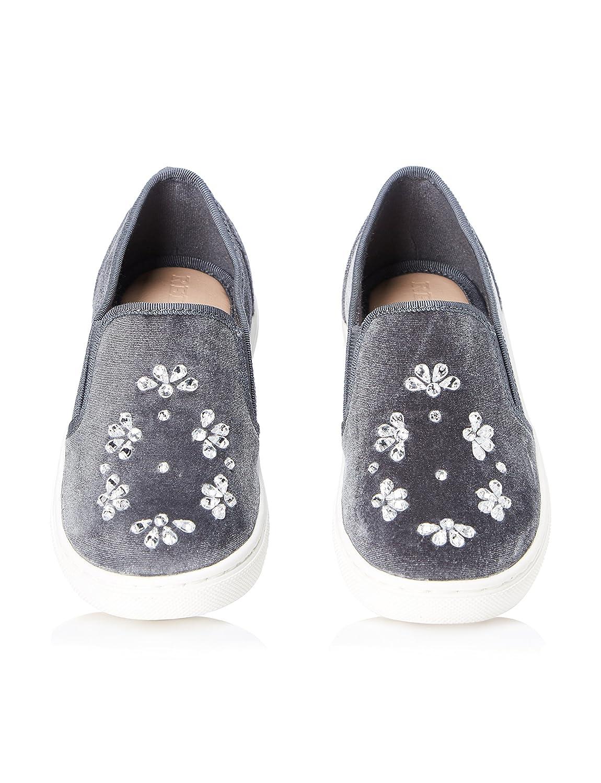 REDWAGON Mädchen Sneaker mit Samt und Kristallen, Grau (Grey), 23 EU